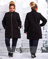 Пальто прямое с карманами на змейке кашемир 46-48,48-50,50-52