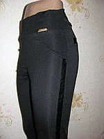Леггинсы БАТАЛИ кожаные вставки в наличии XL,  3XL, фото 1