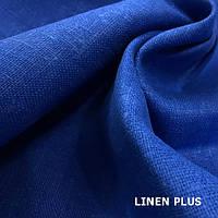 Плотная синяя льняная ткань 100%, цвет 1318