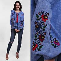 Вышитая блуза для женщин с пышным рукавом Мальва