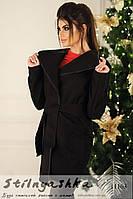 Легкое черное пальто на запах