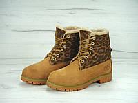 Зимние ботинки женские с мехом Timberland 6 Inch Yellow/Leopard Реплика