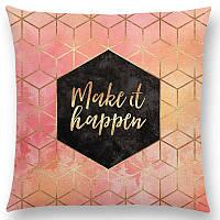 Декоративная наволочка на подушку с абстрактным геометрическим узором и золотыми буквами
