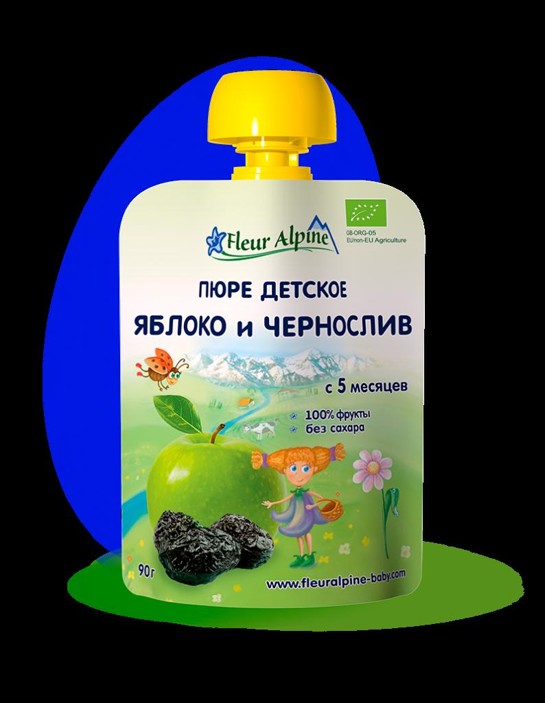 Дитяче фруктово-ягідне пюре Fleur Alpine ЯБЛУКО і ЧОРНОСЛИВ 90г