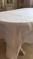 Набір скатертина і серветки вишиті білим по білому ручної роботи 250*140, 30*30 см