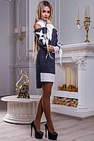 Оригинальное нарядное, короткое платье, трикотаж, бело/синее, размер 42-48