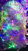 Светодиодная Гирлянда 100 L LED, разноцветные  лампы, прозрачный провод