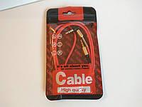 Качественный стерео кабель AUX папа-папа аудиокабель адаптер jack 3.5 мм 0.85м красный