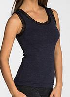 Женская термомайка с кружевной тесьмой (цвет темно-синий) / Термобелье женское