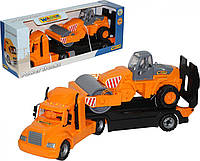 Игрушка автомобиль-трейлер + дорожный каток Майк (в коробке)