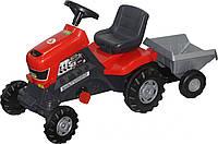 Каталка для детей трактор с педалями Turbo с полуприцепом