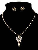 Колье фирмы Xuping. Цвет : позолота. Камни: белый циркон. Длина: 37-46 см Ширина: 45 мм.