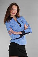 Модная женская рубашка с длинным рукавом (реплика) Polo ralph lauren голубого цвета