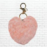 Пушистый брелок сердце,персиковое