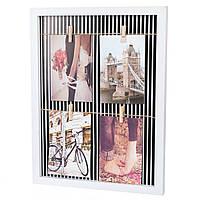 Фотоколлаж на 4 фото с прищепками (31*41 см)