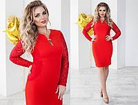 Платье женское красное с гипюровыми рукавами большие размеры (5 цветов) ТК/-02020