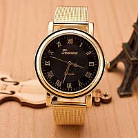 Женские часы Geneva Princess золотые с черным, жіночий наручний годинник, кварцевые наручные часы, фото 1