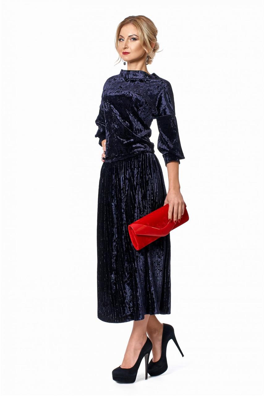 Модный женский костюм-двойка юбка и кофта из мраморного бархата