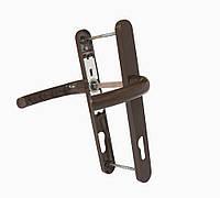 Дверной нажимной гарнитур САФИР 25/85/200 мм з пружинкой, бело-коричневый