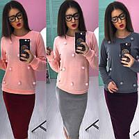 Костюм женский теплый свитшот с бубонами и юбка карандаш ангора разные цвета Ks602