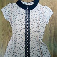 Школьная шифоновая блузочка с коротким рукавом 146
