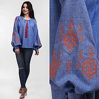 Вышитая блуза для женщин с пышным рукавом Орнамент оранжевый