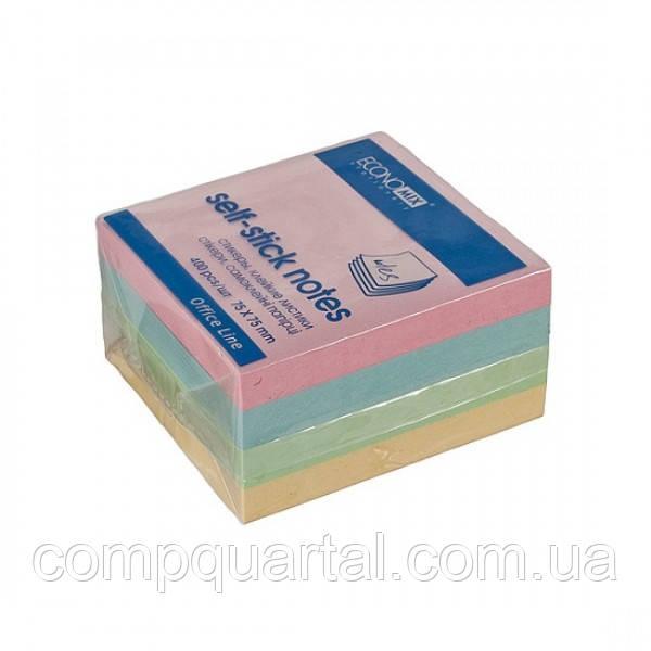Папір для нотаток з клейкою смужкою ECONOMIX 20937 75Х75мм 400 аркушів 4 кольори Пастель