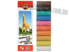 """Пластилин (200г 10 цветов) Жираф Koh I Noor """"KT"""" купить канцелярию оптом ZB-10"""