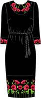 Платье женское 820-14/10 разм.40 (черное с поясом)схема 33/34
