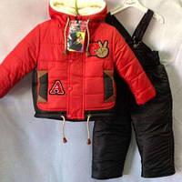 Зимний комплект, комбинезон и куртка для мальчиков 1-4 года