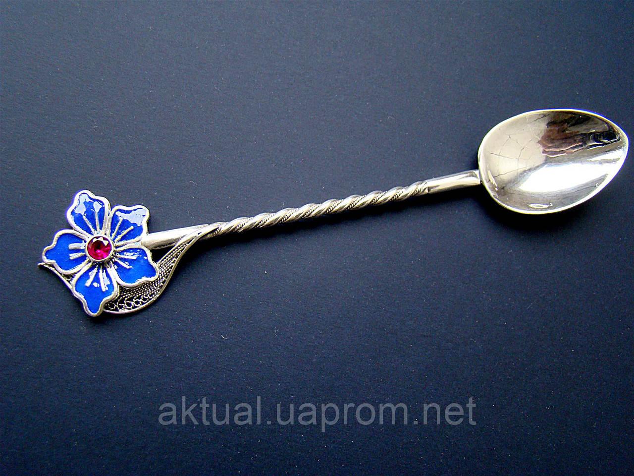 Ложка кофейная серебро скань