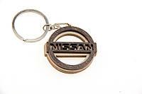 Брелок для ключей деревянный с резным логотипом Nissan (Ниссан)