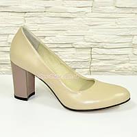Женские кожаные классические туфли на каблуке, бежевого цвета. 40 размер