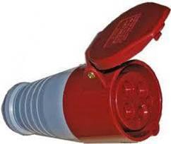 Розетка переносна 214 16А 380-415В 4 контакту (3P + E) Червоний
