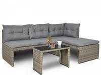 Кутовий плетений диван  CANVAS  GREY 180Х123 см