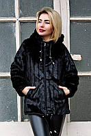 Шуба искусственная Норка  №15D вертикаль без утеплителя, черная норковая шуба