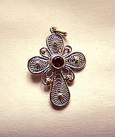 Крест нательный серебро скань