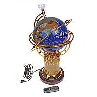 Глобус напольный из натуральных камней с подсветкой