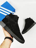 Кроссовки мужские в стиле adidas Tubular Invader, черные, материал - натуральная замша