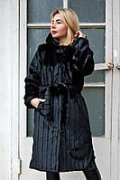 Шуба искусственная Норка  №21 стрижка вертикаль без утеплителя, черная норковая шуба, фото 1