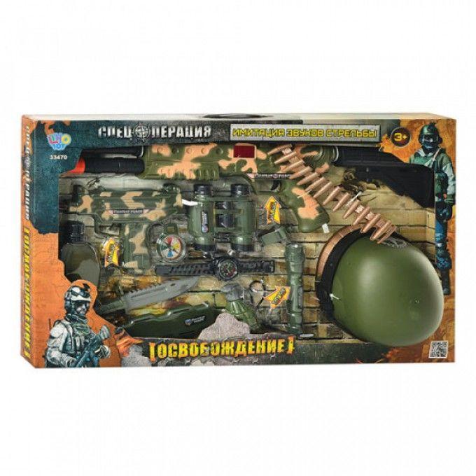 Набор военный 33470 автомат, звук, свет, каска, фляга, бинокль, на бат