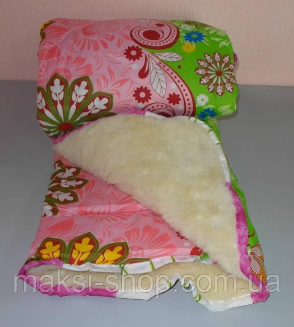 Одеяло полуторное мех овчины и ткань полиэстер