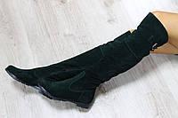 Демисезонные замшевые сапоги-ботфорты