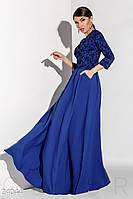 Эффектное длинное платье. Цвет синий электрик.