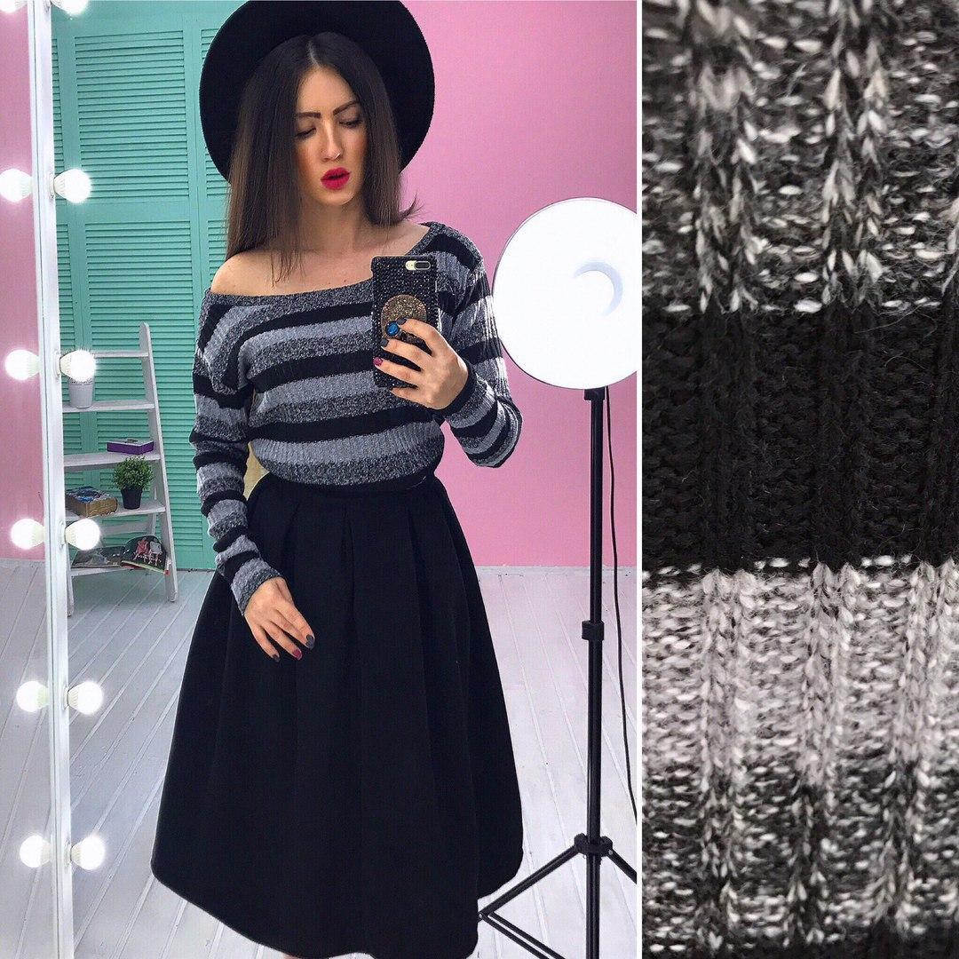 e013590e0c44 Костюм модный свитшот из ангоры в полоску и пышная юбка миди кашемир разные  цвета ...