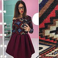 Костюм женский модный свитшот в орнамент вязка и пышная юбка мини кашемир разные цвета 6Kb604