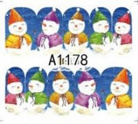 Зимний слайдер дизайн, 1 лист водных наклеек, Новый Год, Рождество А1178, фото 1