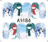 Зимний слайдер дизайн, 1 лист водных наклеек, Новый Год, Рождество А1184