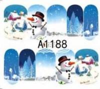 Зимний слайдер дизайн, 1 лист водных наклеек, Новый Год, Рождество А1188