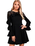 Черное платье с рукавами и ажурной спинкой, фото 1
